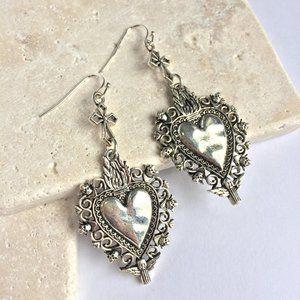 Silver Sacred heart with cross Earrings